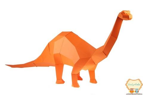 Конструктор. Бронтозавр. Papercraft. 3D фигура из бумаги и картона.