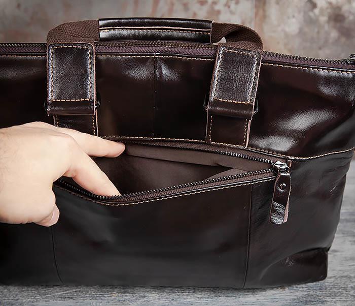 BAG457-2 Мужская кожаная сумка портфель с ремнем на плечо (под А4) фото 07