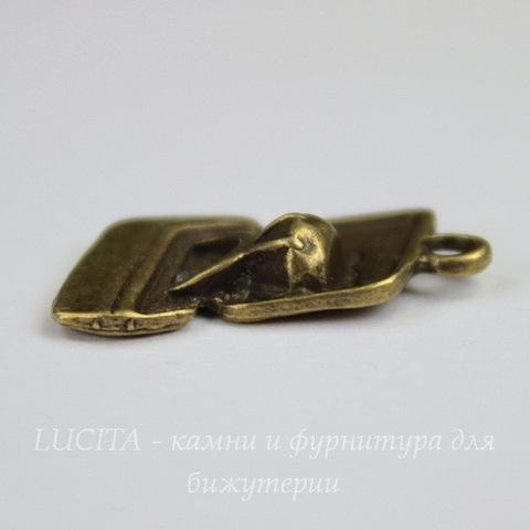 """Подвеска """"Колечко в коробочке"""" 21х14 мм (цвет - античная бронза)"""