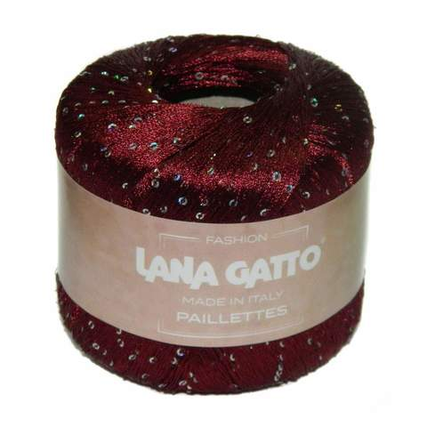 Пряжа Lana Gatto Paillettes 8602 бордо