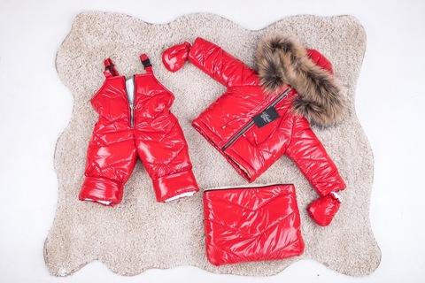 Зимний комбинезон тройка для новорожденных 0-2 года Look красный блеск