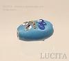 """Бусина """"Индонезийская"""" ручной работы голубая, овальная плоская, 21х16х10 мм"""