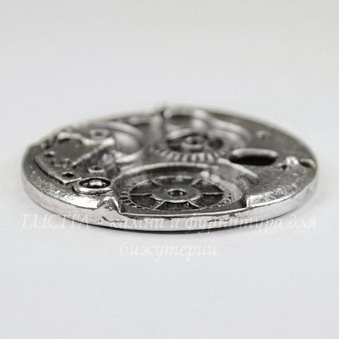 """Подвеска """"Часовой механизм"""" (цвет - античное серебро) 38 мм"""
