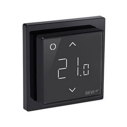 Терморегулятор для теплого пола. Терморегулятор DEVIreg™ Smart  интеллектуальный с Wi-Fi, Чёрный, 16А. 140F1143