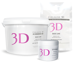Альгинатная маска BASIC CARE для лица и тела с розовой глиной, Medical Collagene 3D