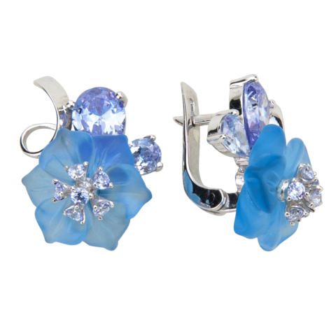 Серьги с цветами из голубого кварца и кубическим цирконием цвета лаванды