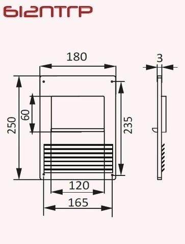 Площадка торцевая с фланцем и решеткой 120х60 горизонтальная