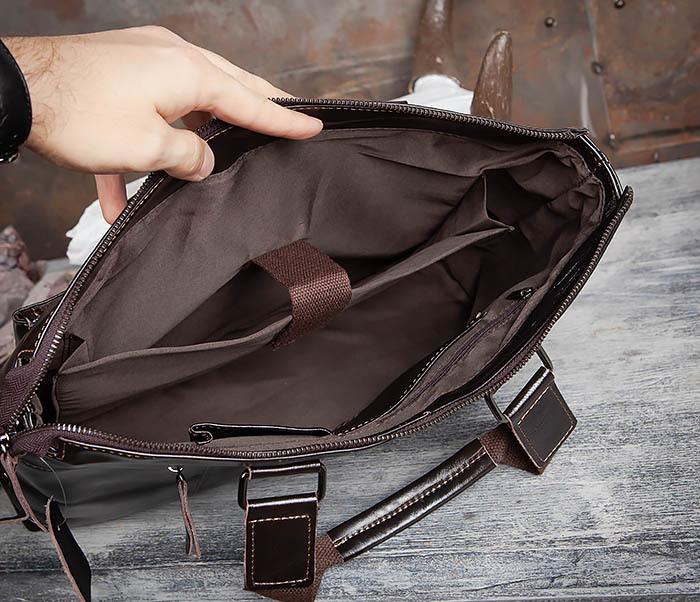 BAG457-2 Мужская кожаная сумка портфель с ремнем на плечо (под А4) фото 11