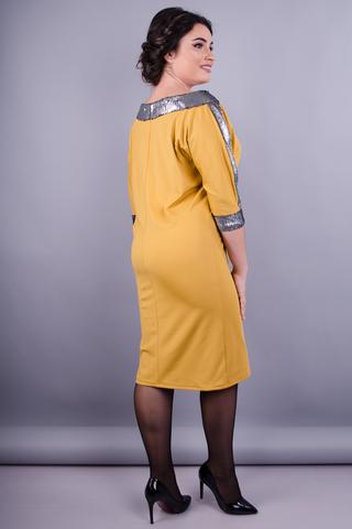 Клео. Нарядное платье больших размеров. Золотистый.