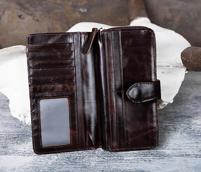 WL303-2 Мужской клатч из коричневой кожи на застежке фото 05