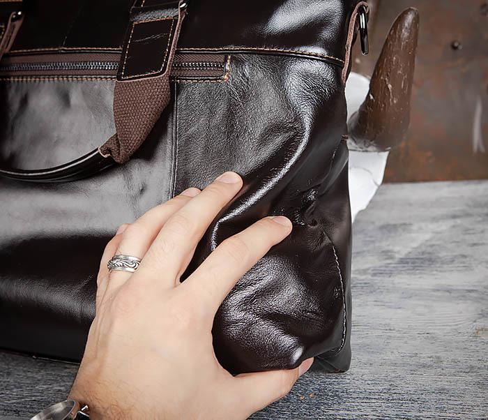 BAG457-2 Мужская кожаная сумка портфель с ремнем на плечо (под А4) фото 12