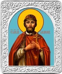 Святой Владислав. Маленькая икона в серебряной раме.