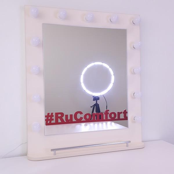 Зеркало гримёрное с подсветкой и полкой, 680х800 мм, 13 ламп фото