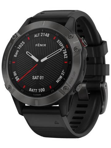 Купить Мультиспортивные часы Garmin Fenix 6 Sapphire - серый DLC с черным ремешком  010-02158-11 по доступной цене