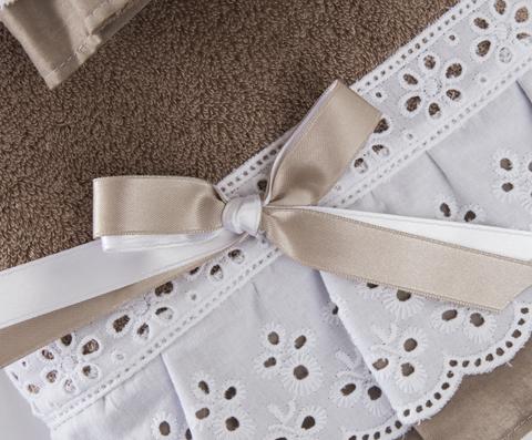 Набор полотенец 3 шт Old Florence Жоли и корзинка коричневый с белым
