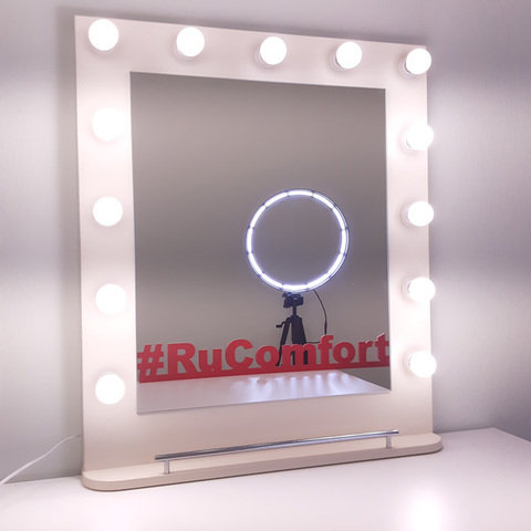 Зеркало гримёрное с подсветкой и полкой, 680х800 мм, 13 ламп