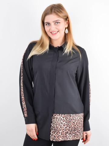 Габриэла. Комбинированная блуза большого размера. Леопард беж.