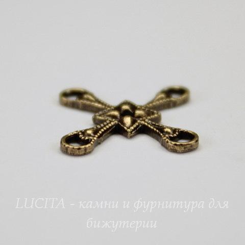 Винтажный декоративный элемент - коннектор (2-2) 12 мм (оксид латуни)