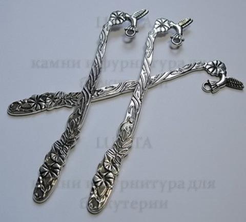 "Основа для закладки ""Птичка""  (цвет - античное серебро) 125 мм ()"