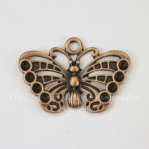 """Подвеска """"Бабочка"""" (цвет - античная медь) 18х26"""