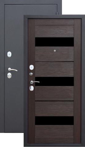 Дверь входная Бронин Грань Муар царга, 2 замка, 1,2 мм  металл, (чёрный муар+дуб темный)