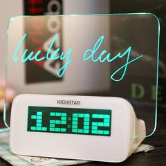 Светящийся LED будильник с доской для записей (зеленая подсветка)