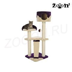 Trixie домик для кошки Carla, высота 104 см бежевый/фиолетовый