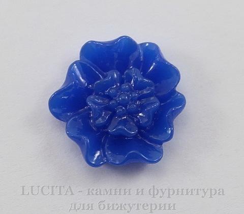 """Кабошон акриловый """"Цветок с тычинками"""", цвет - темно-синий, 12 мм, 5 штук"""
