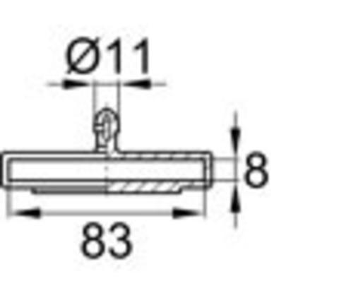 Латодержатель 83 мм центральный, накладной серый