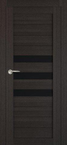 > Экошпон ЛесКом Техно-7, стекло чёрное, цвет орех тёмный, остекленная