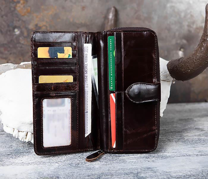WL303-2 Мужской клатч из коричневой кожи на застежке фото 10