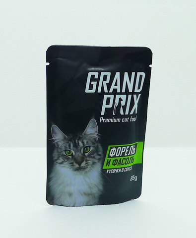 Grand Prix пауч для кошек кусочки в соусе (форель и фасоль) 85г