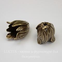 Винтажный декоративный элемент - шапочка в виде тюльпана 20х15 мм (оксид латуни)