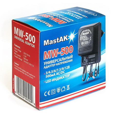 Блок питания MastAK MW-500 (3/4,5/6/7,5/9/12V, 500 mAh)