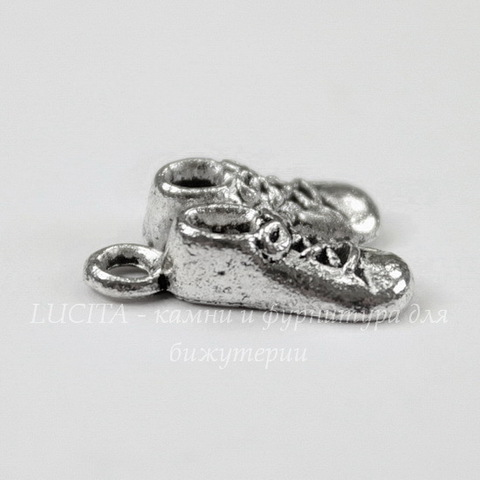 "Подвеска ""Ботиночки"" 14х11 мм (цвет - античное серебро)"