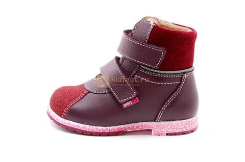 Ботинки для девочек Лель (LEL) из натуральной кожи на байке на липучках цвет бордо. Изображение 3 из 17.