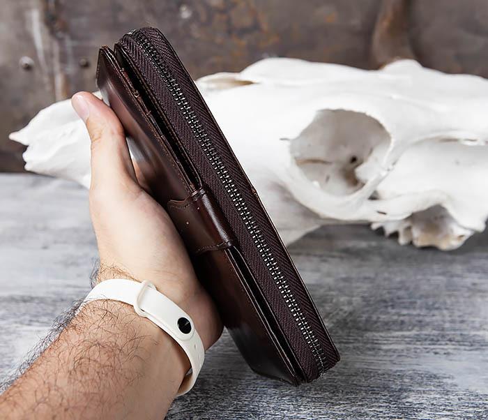 WL303-2 Мужской клатч из коричневой кожи на застежке фото 13