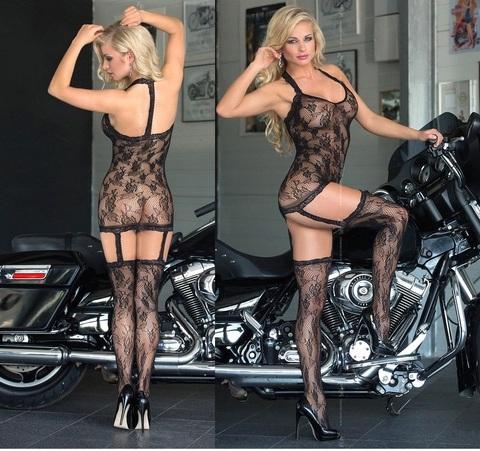 Красивый ажурный комплект - платье и чулки CRAZY