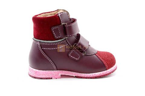 Ботинки для девочек Лель (LEL) из натуральной кожи на байке на липучках цвет бордо. Изображение 4 из 17.