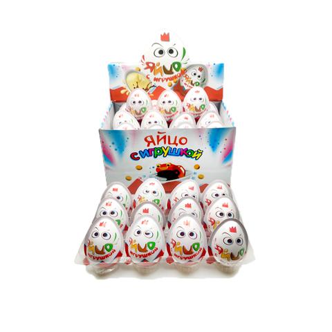 Яйцо с игрушкой, шоколадно-молочной пастой и печеньем 1кор*12бл*24шт 12 гр.