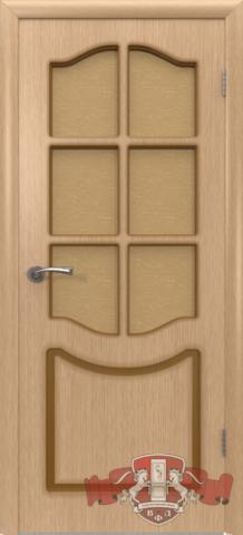 Дверь Владимирская фабрика дверей Классика 2ДР1, стекло бронза художественное, цвет светлый дуб, остекленная