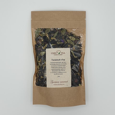 Черный чай с клюквой и брусничным листом Таежный Сбор CHEF TEA, 100 гр