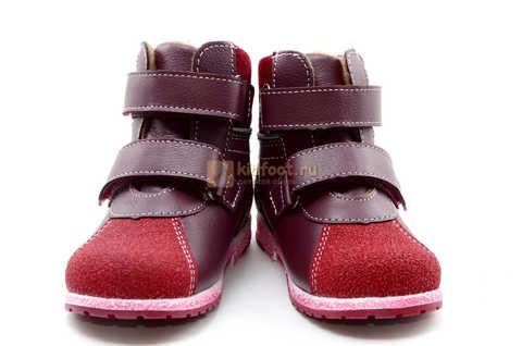 Ботинки для девочек Лель (LEL) из натуральной кожи на байке на липучках цвет бордо. Изображение 5 из 17.