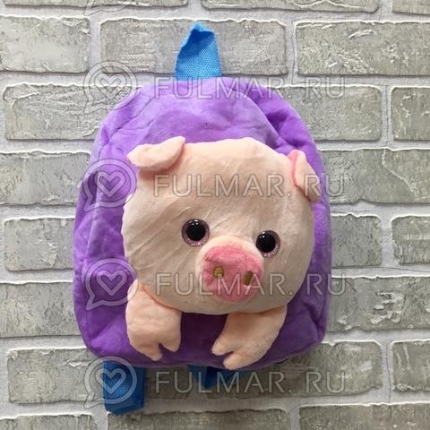 Детский рюкзак плюшевый новогодний 2019 Поросёнок Лиловый глаза с блёстками