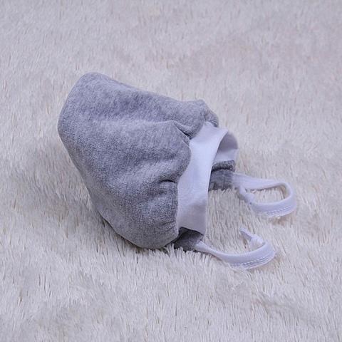 Шапочка зимняя велюровая на махре (серая)