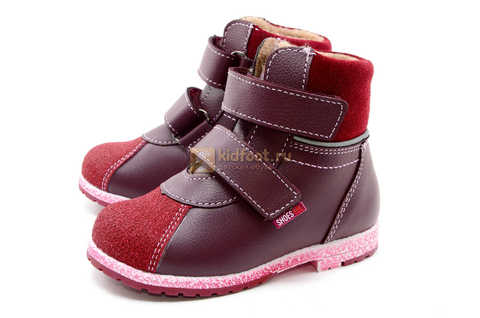Ботинки для девочек Лель (LEL) из натуральной кожи на байке на липучках цвет бордо. Изображение 7 из 17.