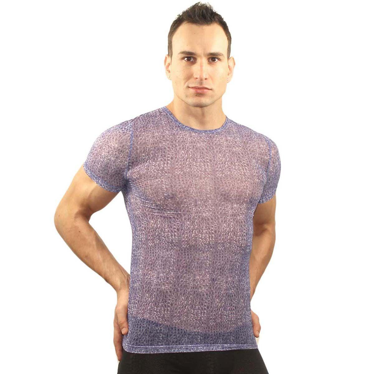Мужское белье: Фиолетовая облегающая футболка с рисунком-ячейками