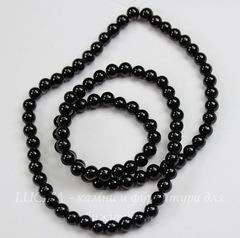 Бусина Жадеит (тониров), шарик, цвет - черный, 4 мм, нить