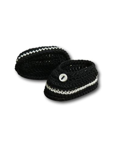 Вязаные туфли - Черный / белый. Одежда для кукол, пупсов и мягких игрушек.