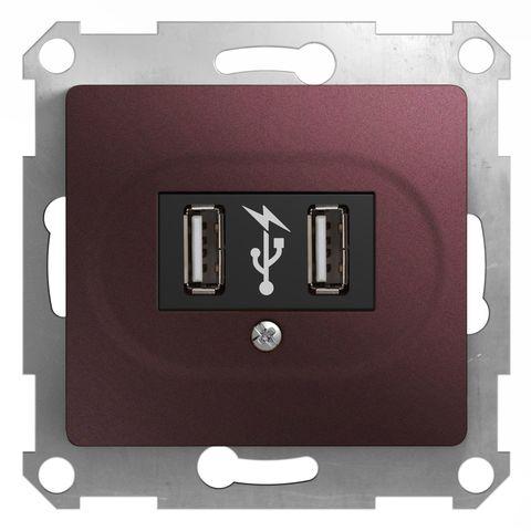 USB Розетка, 5В/1400 mA, 2 x 5 В/700 mA. Цвет Баклажановый. Schneider Electric Glossa. GSL001132